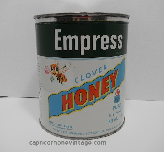 Vintage 1950s Safeway Empress Clover Honey Tin Can Large Size Mid Century Graphics Retro Kitchen Decor Display