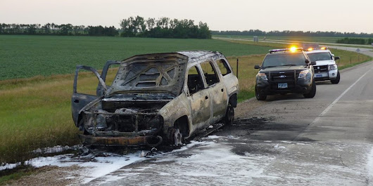 Vehicle destroyed by fire on I-29