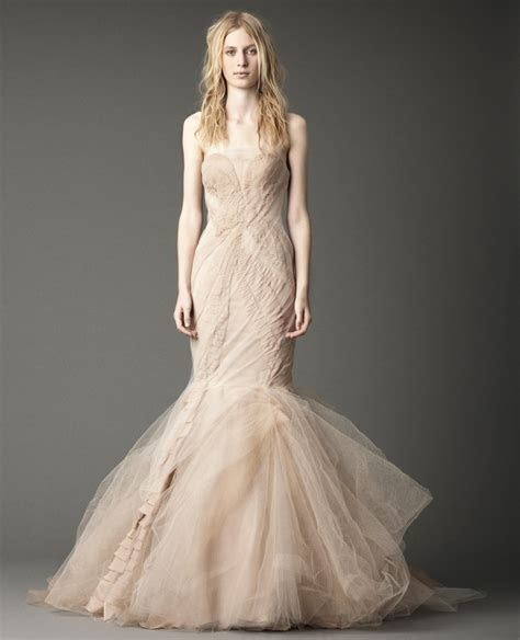 Strapless mermaid gown with chiffon laddering and tumbled