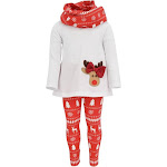 Unique Baby Girls 3 Piece Christmas Reindeer Bow Outfit with Scarf 3T