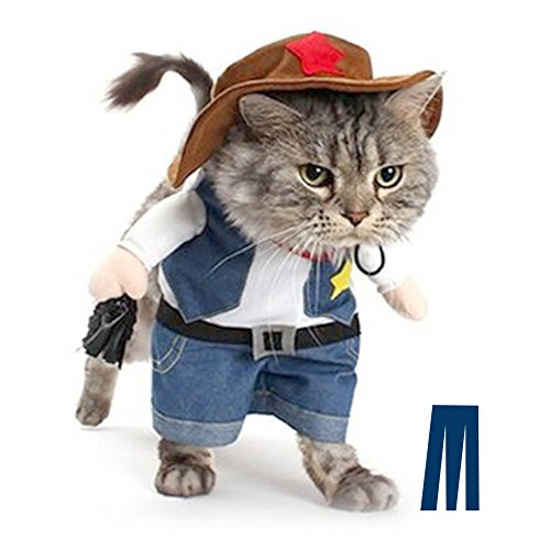 Mikayoo Christmas costumes,The Cowboy for Party Christmas Special Events Costume,West CowBoy Uniform with Hat,Funny Pet Cowboy Outfit Clothing for dog cat(3)