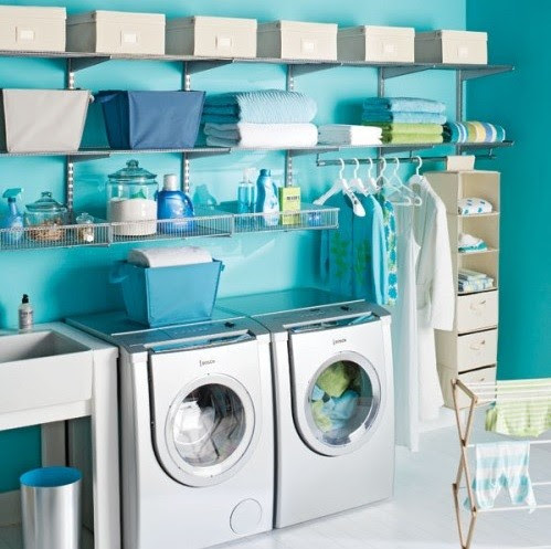 Blue color laundry room