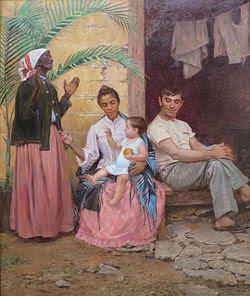 """Quadro """"Redenção do Cam"""" (de 1895, avó negra, mãe mulata, esposo e filho brancos). Para o governo da época, a cada geração o brasileiro ficaria mais branco. Quadro de Modesto Brocos y Gomes."""