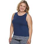 Plus Size Jockey Tropical Paradise Pajama Tank Midnight Navy, Women's, Size: 1XL, Blue