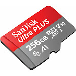 SanDisk Ultra Plus MicroSDXC 256 GB Memory Card with MicroSDXC to SD Adapter - UHS-I/Class 10