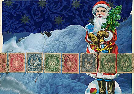 Father Christmas and stamps postcard
