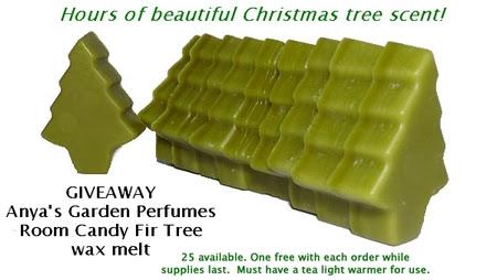 anya's garden perfumes room candy fir tree wax melt
