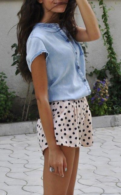 polka dots + chambray