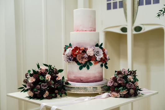 Berry-toned Winter Wedding Cake at House for an Art Lover, Glasgow