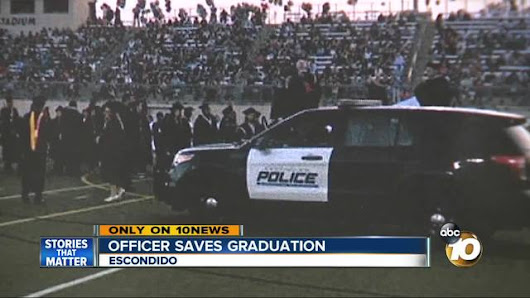 Police officer's quick thinking helps save high school's graduation ceremony