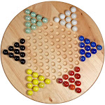 WE Games Solid Wood Chinese Checkers Set with Glass Marbles - 11.5 Inch