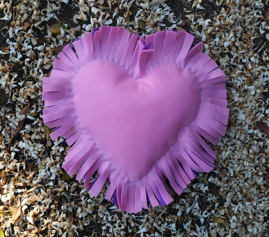 Fringed Heart Cushion - Coloured Buttons