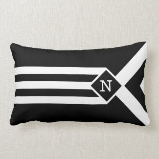 White Stripes and Chevrons on Black with Monogram Throw Pillows