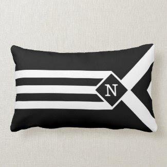 White Stripes and Chevrons on Black with Monogram Throw Pillows