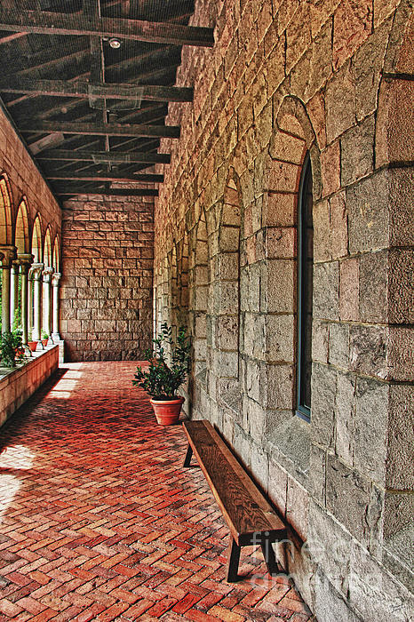Empty Bench And Corridor At Cloisters by Nishanth Gopinathan