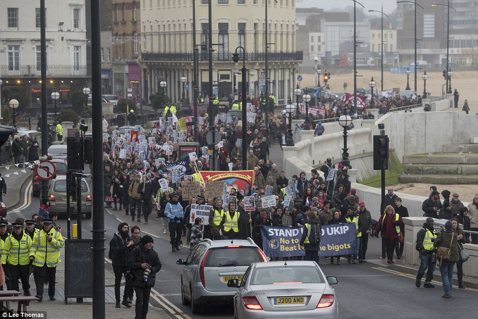 Anti-Ukip demonstrators from Thanet Stand Up To UKIP outnumbered about 50 party supporters who were in the seaside town for the annual two-day conference