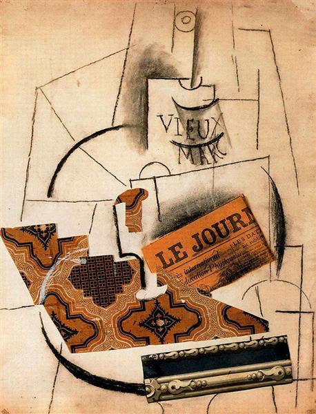 Bottle of Vieux Marc, Glass and Newspaper - Picasso Pablo