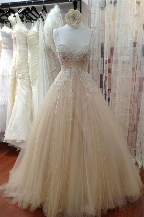 A Line Tulle Long Prom Dress with Straps,Lace Appliques