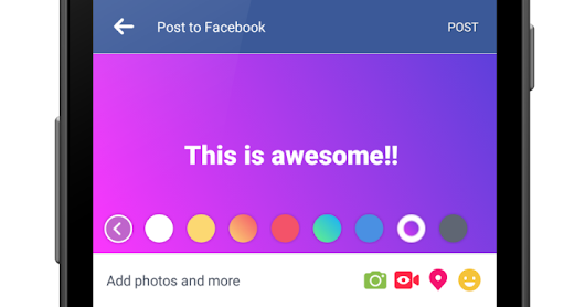 Facebook starts to encourages text statuses with new colored backgrounds