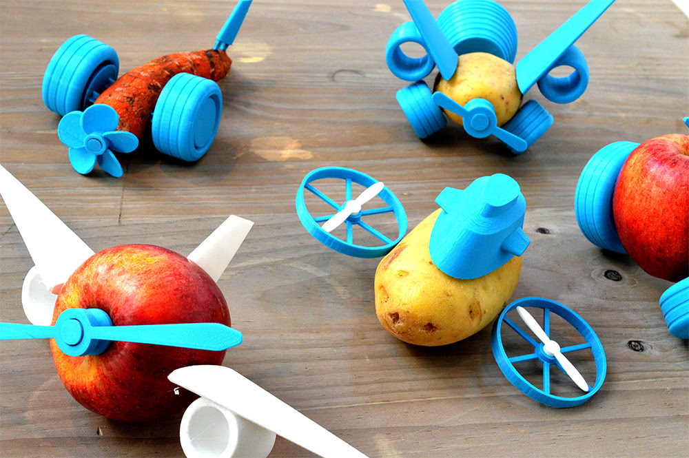 Turn Boring Vegetables into Spaceships and Racecars with Le FabShops 3D Printable Open Toys toys food 3d printing