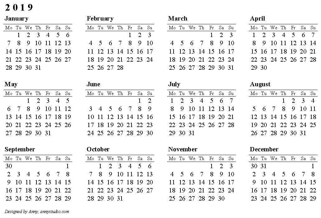 2019 calendar row mo lndscp