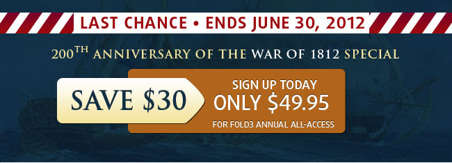 Save 25% on an annual All-Access Fold3 Membership.