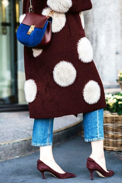 Le Fashion Blog Street Style Fashion Week Burgundy Polka Dot Fur Coat Two Tone Chloe Bag Light Wash Cropped Denim Suede Pumps Via Vogue