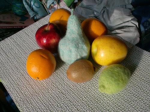 Knitted fruit still life