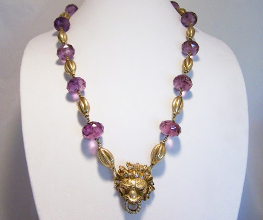 Celia Harms Faceted Amethyst Bead Lion Head by GretelsTreasures