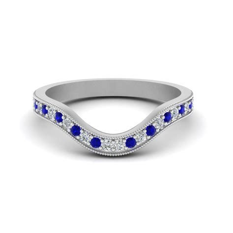 Milgrain Pave Curved Diamond Wedding Band With Sapphire In
