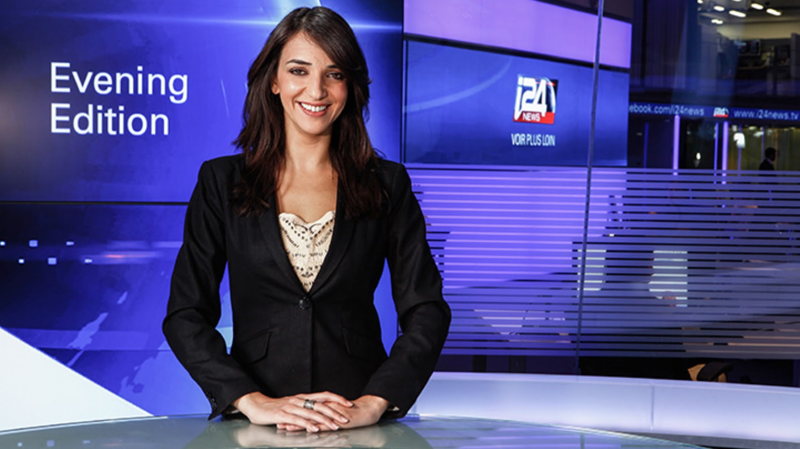 Lucy Aharish anchoring the news. Photo by Kfir Ziv Photography