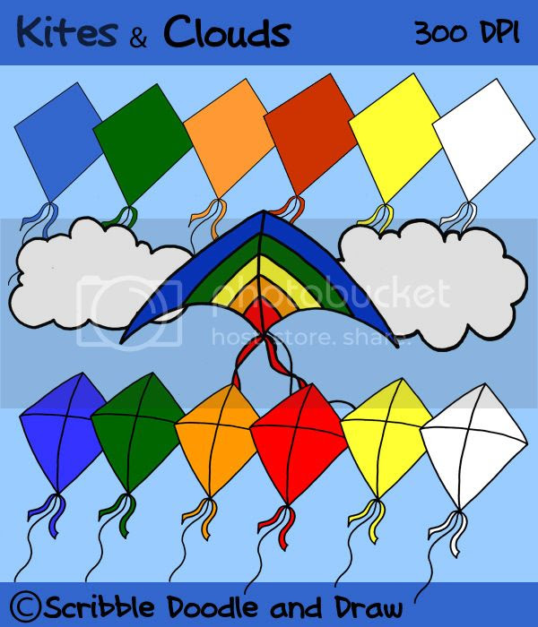 kites and clouds clip art for commercial use color and black and white line images