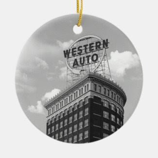 Western Auto Half Cylinder Building Double-Sided Ceramic Round Christmas Ornament