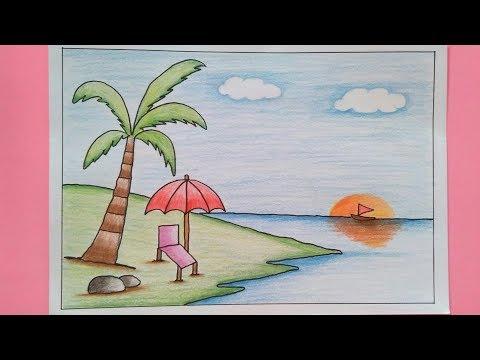 Cara Menggambar Dan Mewarnai Pemandangan Alam Pantai Dengan Pensil