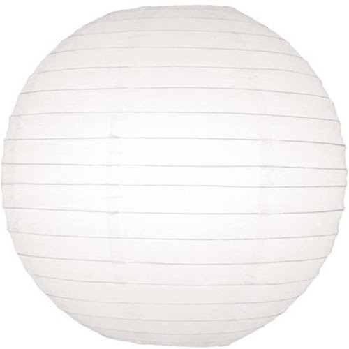 """18"""" White Round Paper Lantern, Even Ribbing, Hanging Decoration"""