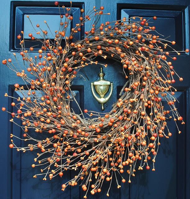 Autumn Fall Orange Berry Wreath