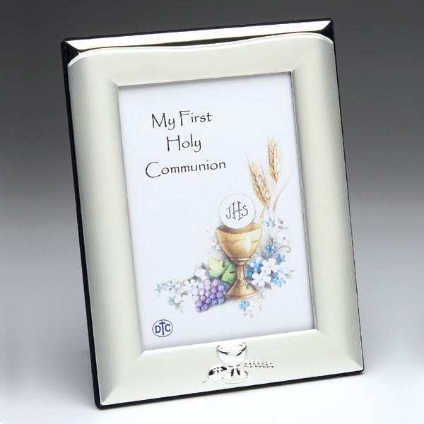 First Holy Communion Brushed Satin Silver Plated Frame 3 12 X 5