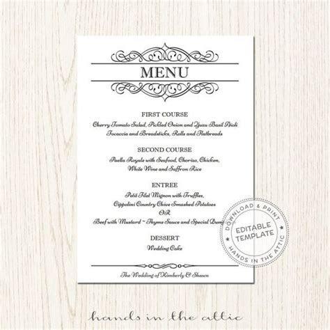 Elegant wedding menu template, editable wedding menu card