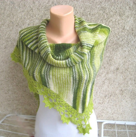 ON SALE Lace Knit Shawl Mohair Triangular Crochet lace trim Green Scarf Capelet Wrap Wearable art Fluffy Handmade by Dimana