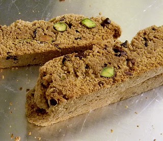 Cacao Coconut Biscotti with Pistachios