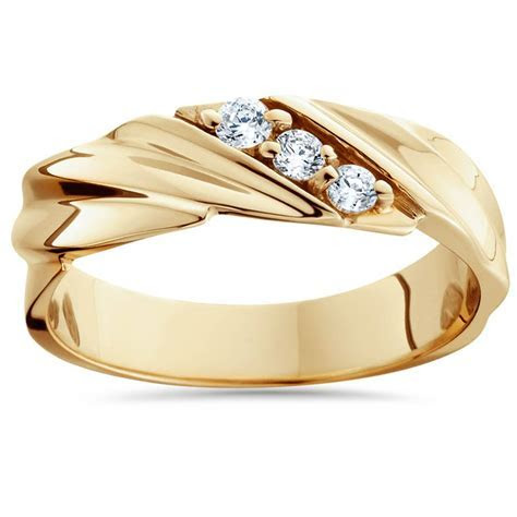 1/10ct Diamond 14K Yellow Gold Mens Wedding Ring   eBay