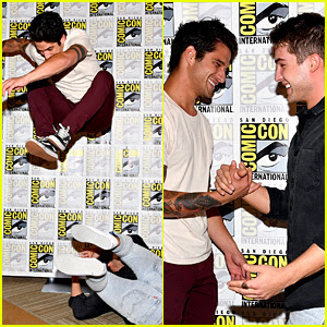 Tyler Posey Jumps Over Cody Christian at 'Teen Wolf' Comic-Con Photo Call!