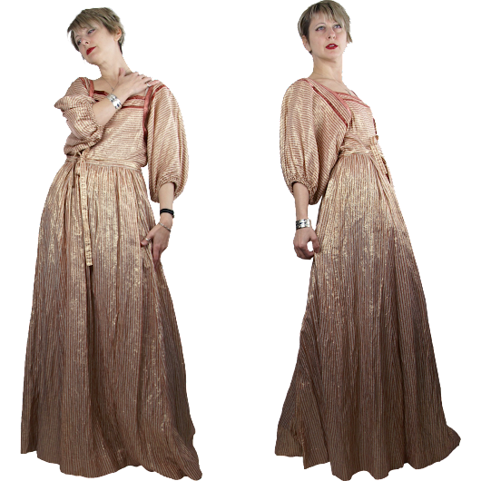 Late 1970s Albert Nipon Copper and Gold Striped Lamé Maxi Dress from Noble Vintage Clothier at Ruby Lane