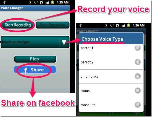 aplikasi pengubah suara rekaman / suara efek android