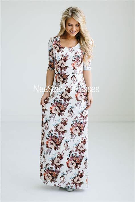 Pretty Floral Modest Maxi Dress   Beautiful Modest
