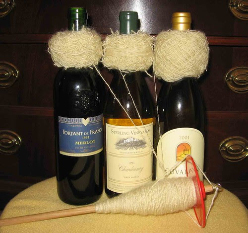 Wine bottles used as plying stand