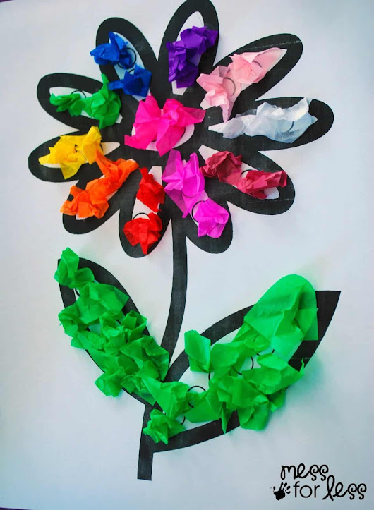 Tissue Paper Flower Art Activity - Mess for Less