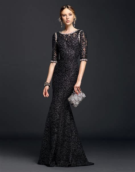 Women's Black Lurex Lace Dress With Crystals   Dolce