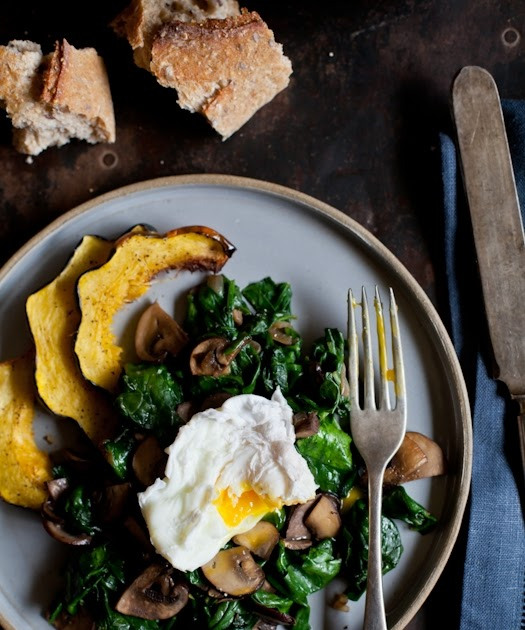 Poached Eggs With Sauteed Spinach & Mushrooms