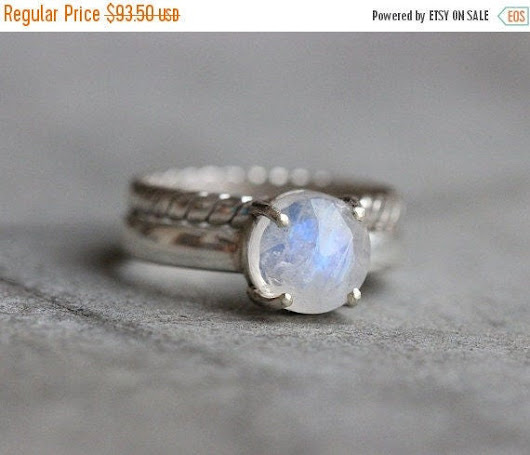 Rainbow Moonstone ring   prong set  Stack rings  by Studio1980